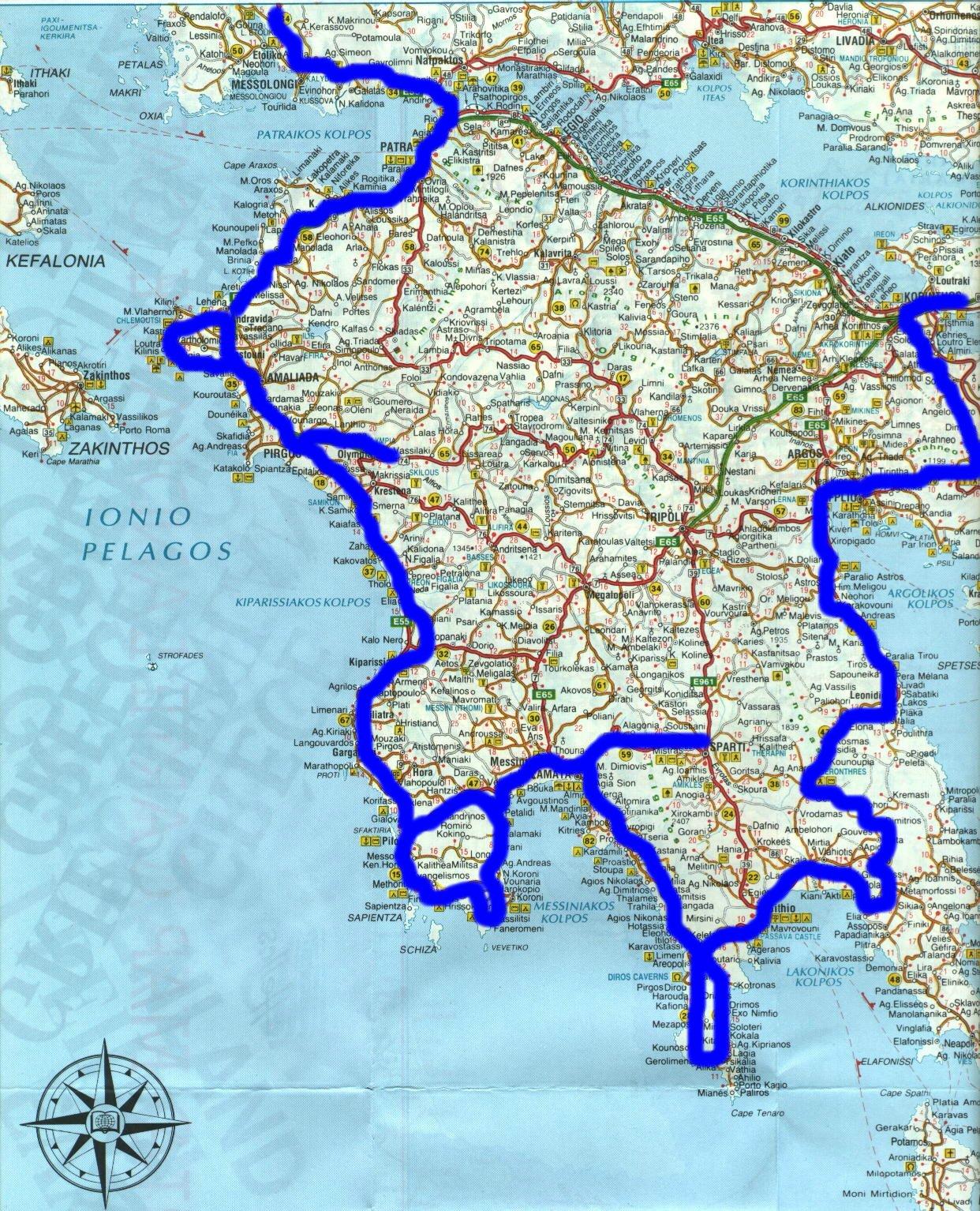 Peloponnes Karte.Griechenland